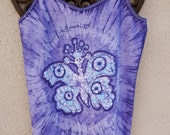 Butterfly Tank Top, Purple Batik Tank Top, Yoga Tank Top, Boho Tank Top, Bohemian Clothing, Hippie Clothing, One of a Kind