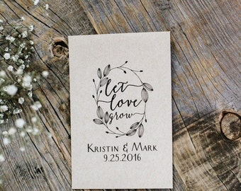 50 Customized Eco-Friendly Let Love Grow Wedding Seed Favor Kraft Envelopes