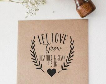 Wedding Favor Stamp, Seed Favor Stamp, Seed Packet Stamp, Wedding Gift Stamp, Let Love Grow Rubber Stamp, Custom Favor Stamp