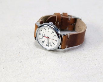 Leather Watch Strap // Horween Leather Band in English Tan - Brown Leather // Replacement Watch Band // Thumbnail Buckle