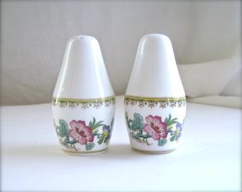 Vintage Coalport, Ming Rose, Salt and Pepper Shakers, Salt & Pepper Set, Gold, Coalport Porcelain Works, English Porcelain, Pink Flowers