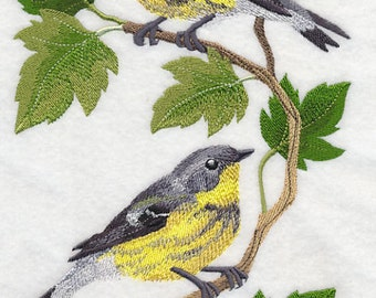 Magnolia Warbler Panel Embroidered on Made-to-Order Pillow Cover
