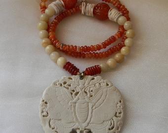 Bone & resin butterfly pendant w vintage agate beads necklace , beaded jewelry , molded bone butterfly pendant , long strand , agate jewelry
