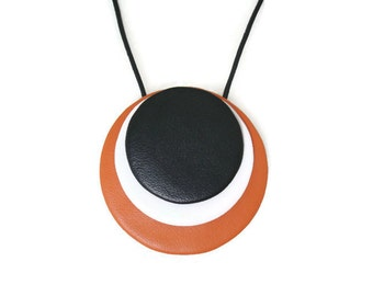 Leather Necklace, Large Leather Pendant Necklace, Statement Jewellery, Leather Disc Necklace, Colourful Necklace, Gift For Her