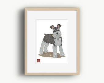 Schnauzer Art, Schnauzer Gifts, Schnauzer Print, Ready To Frame, 8 x 10 inches