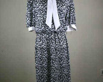 1980s Secretary Black and White Dress by Lady Carol of New York