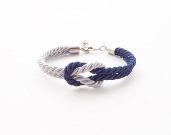 Tie the knot bracelet - navy blue wedding - light gray - knot bracelet - nautical knot bracelet - anchor knot bracelet - beach bracelet