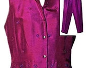 Vintage Silk Pant Set in Fuchsia - Size Large
