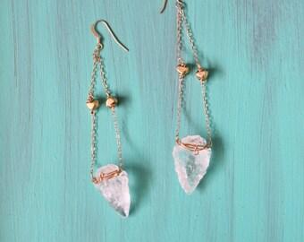 Arrowhead earrings, brass wire, 14k gold filled chain and earwires. Clear quartz arrowhead stones.
