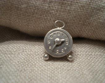 Sterling Silver Charm Movable Clock Marked Hands Move with Heart Shaped Turn Marked Sterling Vintage