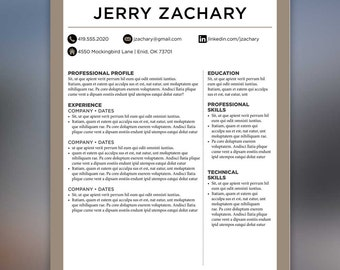 Masculine Resume Template -Cover Letter, References - Tan, Black, Masculine - MS Office ZACHARY