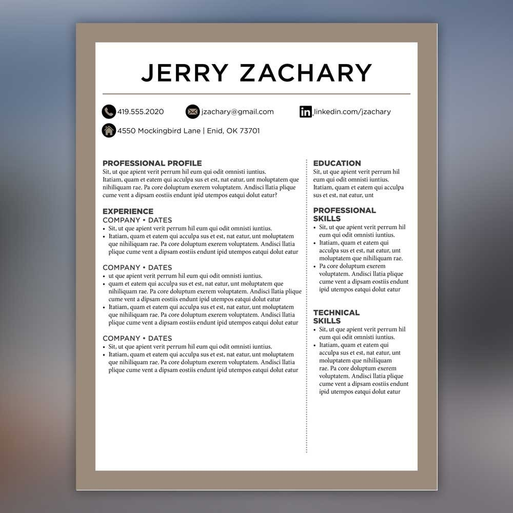 Masculine Resume Template Cover Letter References Tan