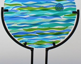 Waves Fused Glass Table Top Suncatcher