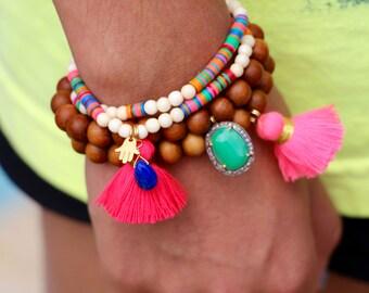 Colorful Tassel Bracelet with Gold Vermeil Hamsa, African Vinyl Disc Beads, Yoga, Distressed Bone Bead Stretch Bracelet, Boho Beach Chic