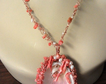 OOAK Handmade Copper Wire Sea Shell Real Branch Coral Cultured Pearl Necklace