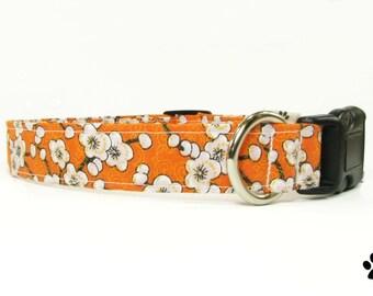 Orange floral dog collar & cat collar - adjustable with bell (optional)