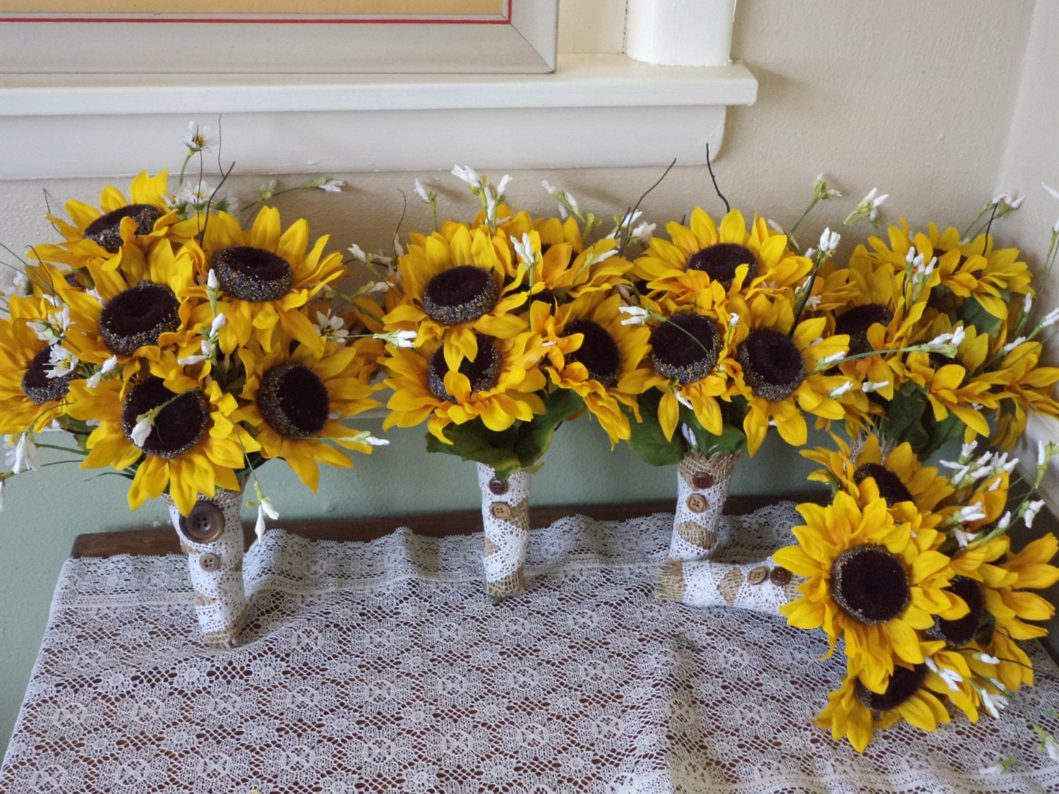 sunflower bridal bouquet bridesmaids and groomsmen silk. Black Bedroom Furniture Sets. Home Design Ideas