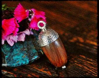 Acorn Wood Bead Pendant