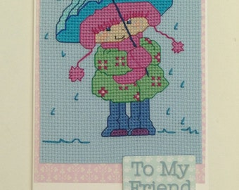 Friend cross stitch card