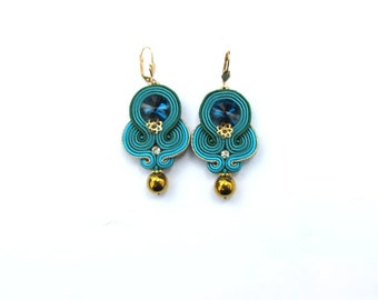 Teal Dangle Earrings - Unique Soutache Earrings - Dangle Drop Earrings - Teal and Gold - Handmade Earrings with Crystals