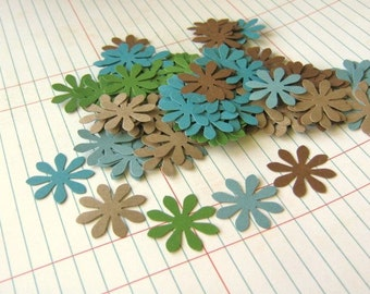 110pcs Flower Confetti 1 Inch Die Cuts Green Brown Blue Party Decoration Table Scatter