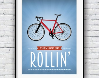 Bike poster, bicycle art, cycling print, cycling poster, bike art print, cycling art, bike gifts