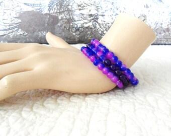 Bracelet Set Boho Hippie Bracelets Elastic  Purple Jade Glass