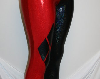Harley Quinn Costume Cosplay Red and Black Holographic Leggings   Great for Costumes, Roller Derby, Comic-Con, Halloween
