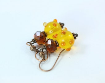 Yellow Earrings, Lampwork Earrings, Yellow Lampwork Earrings, Yellow Glass Earrings, Amber Crystal Earrings, Yellow Lampwork Beads