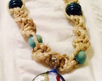 Handmade Macrame Thick Hemp Necklace, Beaded Necklace, Glass Necklace