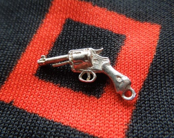 Figural Sterling Silver Pistol Charm for Bracelet from Charmhuntress 01772