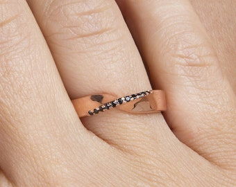 Mobius ring,  Cz mobius ring, Pave mobius ring, Gold mobius ring, 9k Solid gold ring,  Sterling silver ring. Width 4.5mm