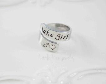Michigan Ring, Wrap Ring, Lake Girl, Michigan Girl, Lake Michigan, Michigan, Wrapped Ring, Adjustable Ring, Twisted Ring, State of Michigan