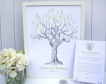 Custom Wedding Fingerprint Tree - with lovebirds