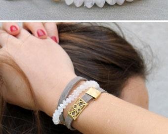 Boho Wrap Bracelet, Beaded Moonstone bracelet, Wrap Boho Bracelet Wrap, Leather Wrap Bracelet, leather beaded wrap bracelet bohemian jewelry