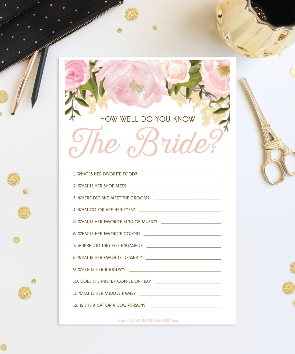 How Well Do You Know The Bride Bridal Shower Game Wedding