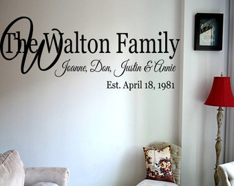 Family Name Wall Decal -  Wall Decal - Personalized Wall Decal - Last Name Wall Decal - Vinyl Wall Decal - Family Vinyl Lettering