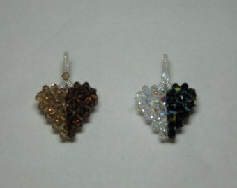 SWAROVSKI CRYSTAL 3-D Puffy Heart Pendant in Light Colorado Topaz and Smoked Topaz, Side by Side Two Tone Colors