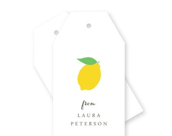 Lemon Personalized Gift Tags, Handmade, Thank You, Hang Tags