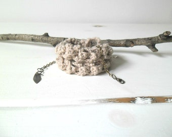 Crochet wrap bracelet or necklace, assorted colors  - textile jewelry with leaf pendant bronze.
