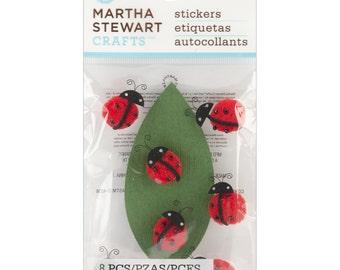 Martha Stewart Crafts Ladybug Pom Pom Dimensional Stickers 8 Pcs for Scrapbooking Planner Journal Kids Craft