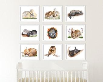 Woodland Baby Animal Art Print Set, Set of 9 Prints, Baby Animal Art, Animal Prints, Woodland Print Set, Watercolor, Fox, Owl, Bear, Rabbit