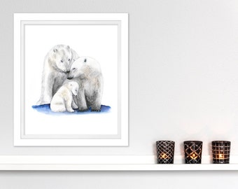 Polar Bear Family Arctic Nursery Art - Baby Room Decor - Polar Bear Nursery - Polar Bear Watercolor - Polar Bear Art - Arctic Animal 8.5x11