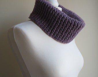 Purple, Chunky, Twist Ribbed Cowl. Handmade and Knitted, Warm Winter Cowl and Snood