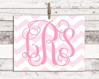 Baby girl nursery decor - monogram wall art - pink nursery art -  toddler girls room decor - chevron nursery art - newborn baby girl gift