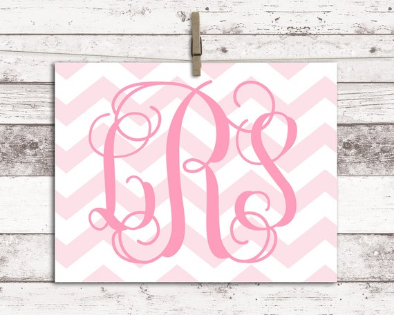 Baby girl nursery decor - monogram wall art - pink nursery art ...