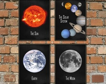 The Solar System Wall Art Poster Set of 4 - NASA Astronomy Prints - Cosmos Home Decor - Space Boys Bedroom Decor - Earth Sun Planets Posters