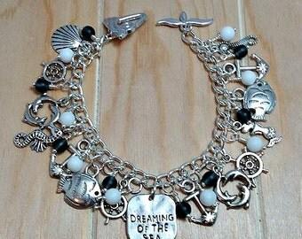 nautical charm bracelet-anchor charm bracelet-ship charm bracelet-sea glass-silver charm bracelet-nautical bracelet-nautical jewelry