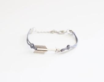 Arrow Gray Cord Bracelet