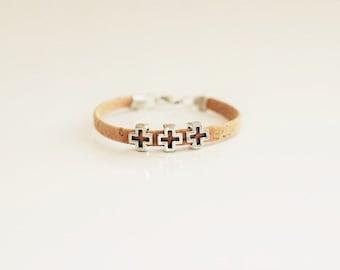 Cork Square Cross Bracelet